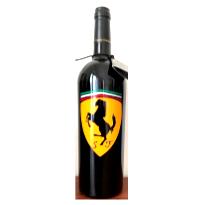 Bottiglia vino cl.75 in vetro con disegno inciso e dipinto a mano cod.BOT17