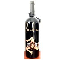 Bottiglia vino cl.75 in vetro con disegno inciso e dipinto a mano cod.BOT10