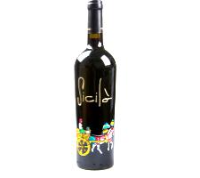 Bottiglia vino cl.75 in vetro con disegno inciso e dipinto a mano cod.BOT3