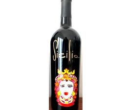 Bottiglia vino cl.75 in vetro con disegno inciso e dipinto a mano cod.BOT7