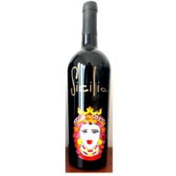 Bottiglia vino  MORO F. cl.75 in vetro con disegno inciso e dipinto a mano cod.BOT-7