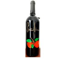 Bottiglia vino cl.75 in vetro con disegno inciso e dipinto a mano cod.BOT4