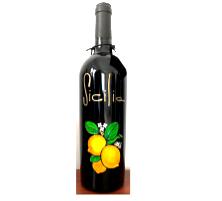 Bottiglia vino cl.75 in vetro con disegno inciso e dipinto a mano cod.BOT5