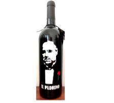 Bottiglia vino cl.75 in vetro con disegno inciso e dipinto a mano cod.BOT6
