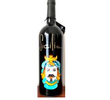 Bottiglia vino cl.75 in vetro con disegno inciso e dipinto a mano cod.BOT8