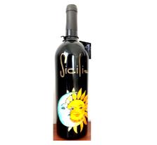 Bottiglia vino cl.75 in vetro con disegno inciso e dipinto a mano cod.BOT9