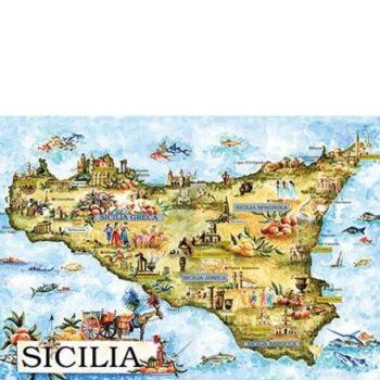 POSTER DA ACQUARELLO – MAPPA SICILIA – Cm25X35- COD. CR3 P9